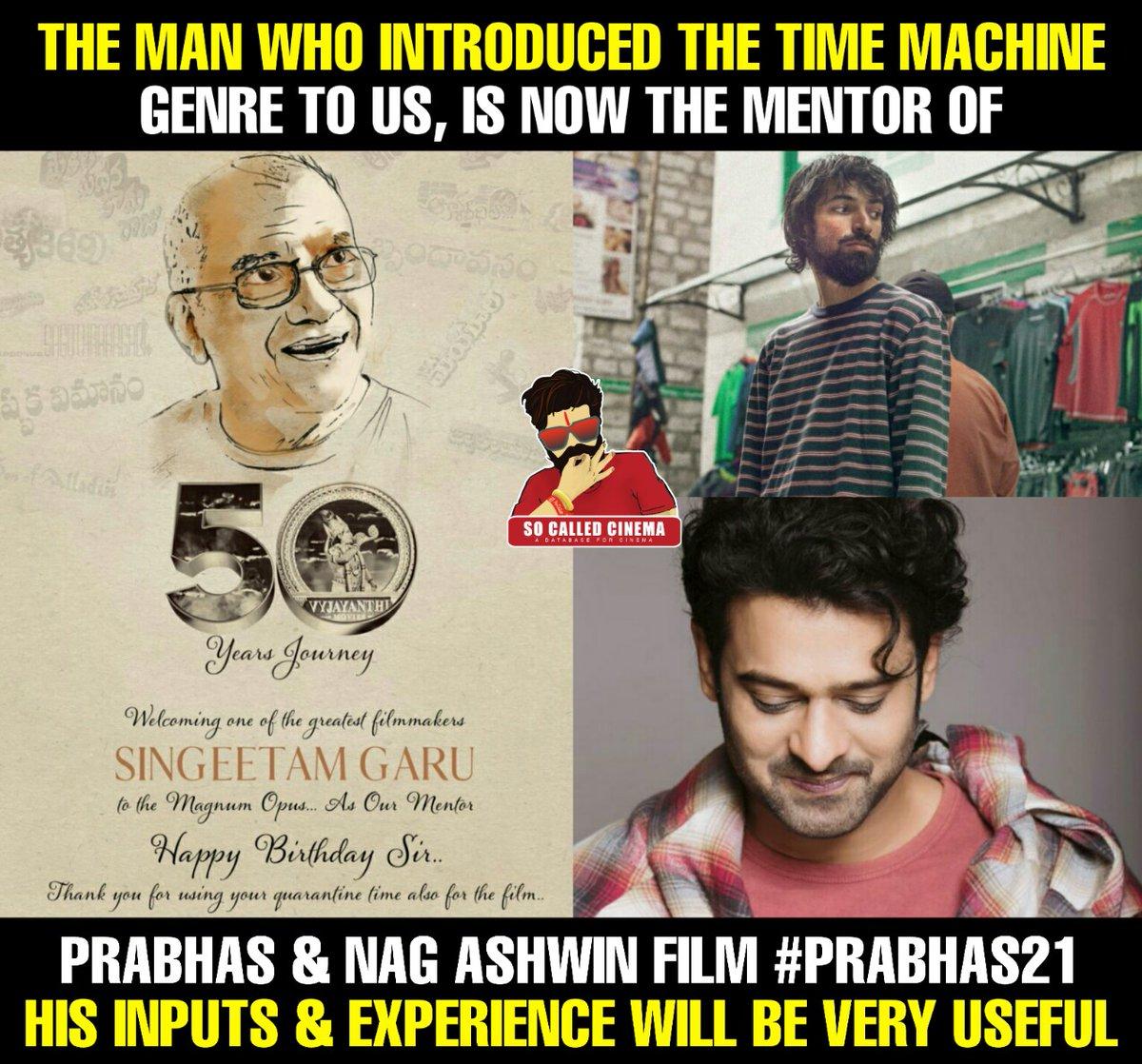 Legendary director #SingeetamSrinivasaRao Garu will be the mentor of Prabhas - Nag Ashwin film..!!  #Prabhas21 #NagAshwin #Prabhas #DeepikaPadukone #SoCalledCinema https://t.co/w9tk73ZHLE