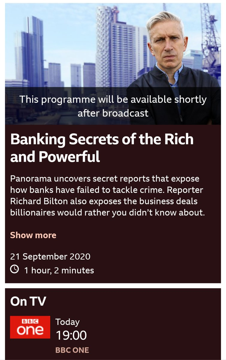 Panorama tonight on BBC1 at 7pm! 'Banking Secrets of the Rich and Powerful' Perfect for Marxism! 💰
