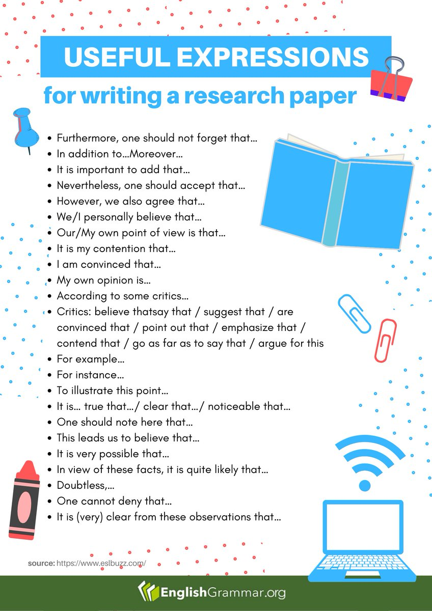 Useful Expressions for Writing a Research Paper   #amwriting #writing #writingcommunity #vocabulary #research #English #writingtips https://t.co/gZhXg0ZJAo