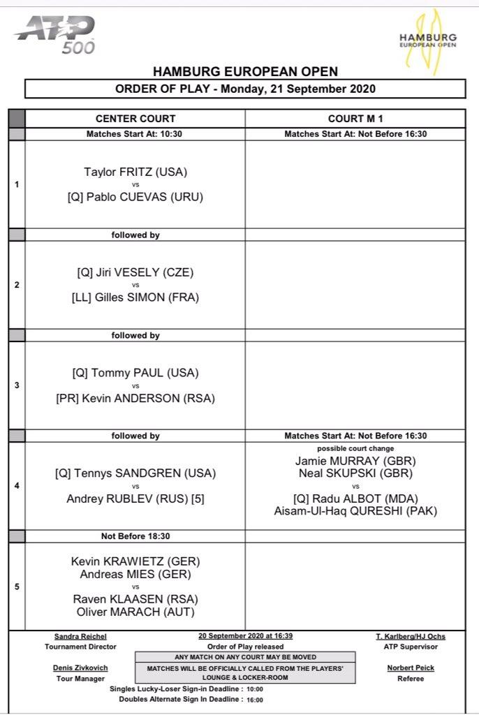 #WTA #ATP pazartesi  Roma final 15:30 Halep - Pliskova (yayın beIN) 18:00 Djokovic - Schwartzman  Fransa Açık elemeler 11:00 Eurosport Program https://t.co/qXOwZuXTyw  Bu hafta erkeklerde Hamburg ve kadınlarda Strazburg var. 11:30 Hamburg (trtspor) 11:00 Strazburg Eşleşmeler: https://t.co/jhB4bm0YI2