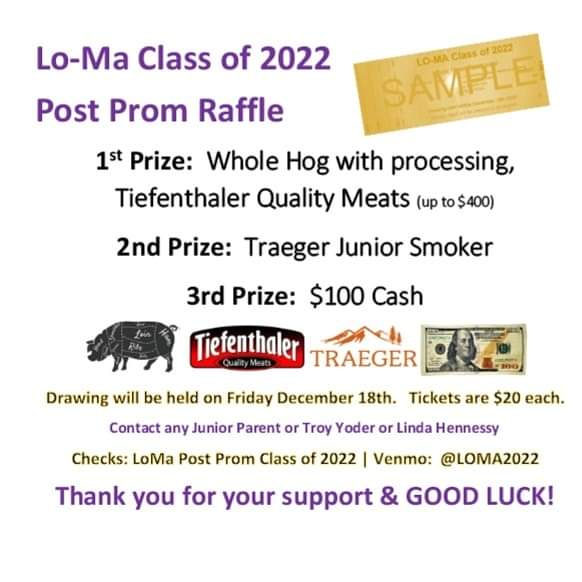 Buy ticket at @LoMaCSD / @WCWildcatFB 🏉 game 🏆 all the FEELZ when U buy that 🟣W I N N I N G🟡 ticket for a freezer full of [p🥓o🐖r🍖k] or [smoker] or [💲] LOMA2022 #PostProm Raffle #tqmeats #traeger #cash 🐖🍽💸 Venmo: @LOMA2022 $20 per ticket https://t.co/iDKhYA4Vsu