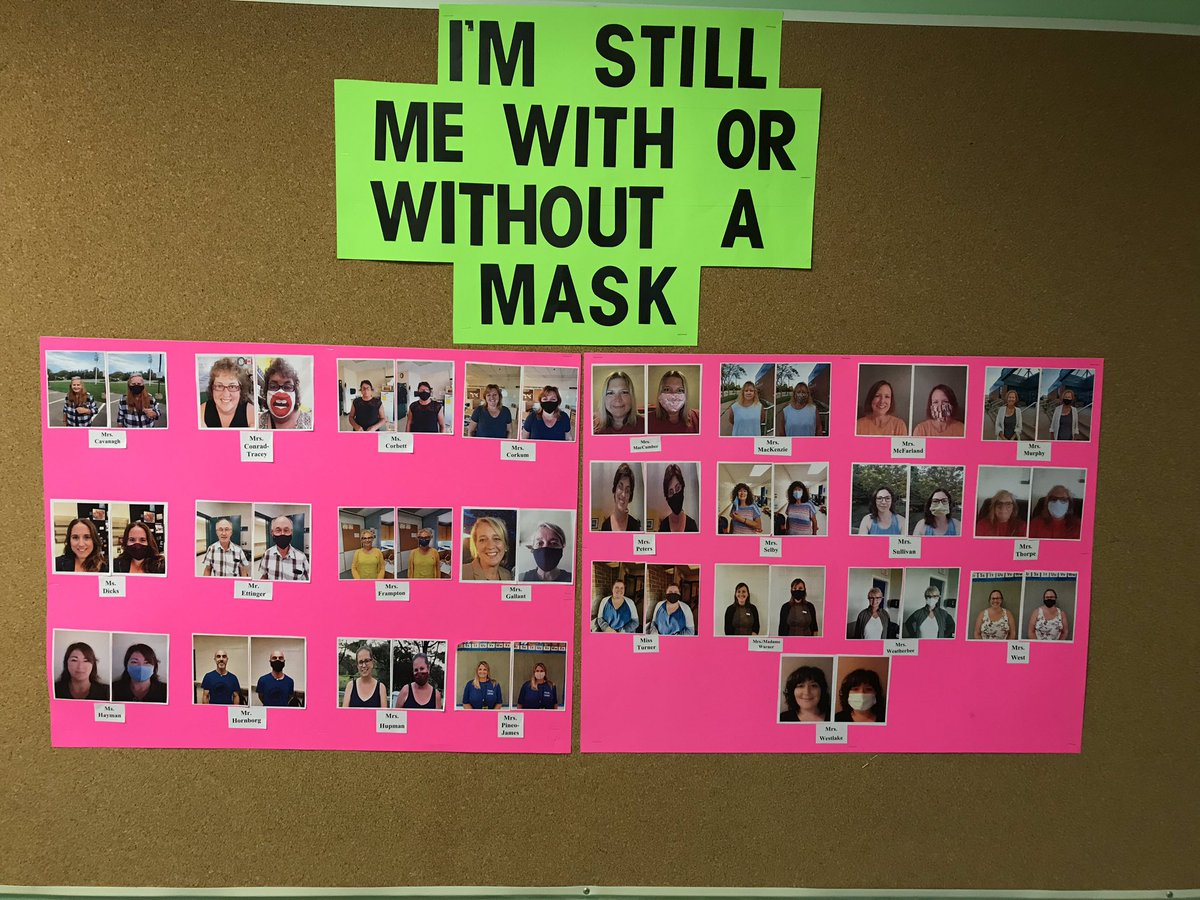 """""""I'm still me with or without a  mask"""" 😷😁 Thanks to one of our staff members @jmac1707 for creating this board for our #schoolfamily ❤️ #WeGotThisNS #NotTodayCorona https://t.co/6SMyfya03e"""