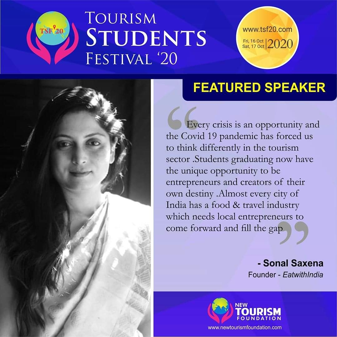 #NewTourismFoundation presents #sonalsaxena at #TSF20. #TourismStudentsFestival 16-17 October20. Check the schedule at https://t.co/w1guORzQdN  Click https://t.co/KKUDuiY9uO to buy #ticket for 350/- INR and Participate. #eCertificate issued. https://t.co/Pt5qe5nZ9x