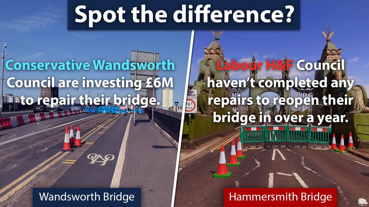 Can you spot the difference between Conservative run @wandbc & Labour run @LBHF approach to taking care of our transport infrastructure? 🤔 https://t.co/bz89pOExEI