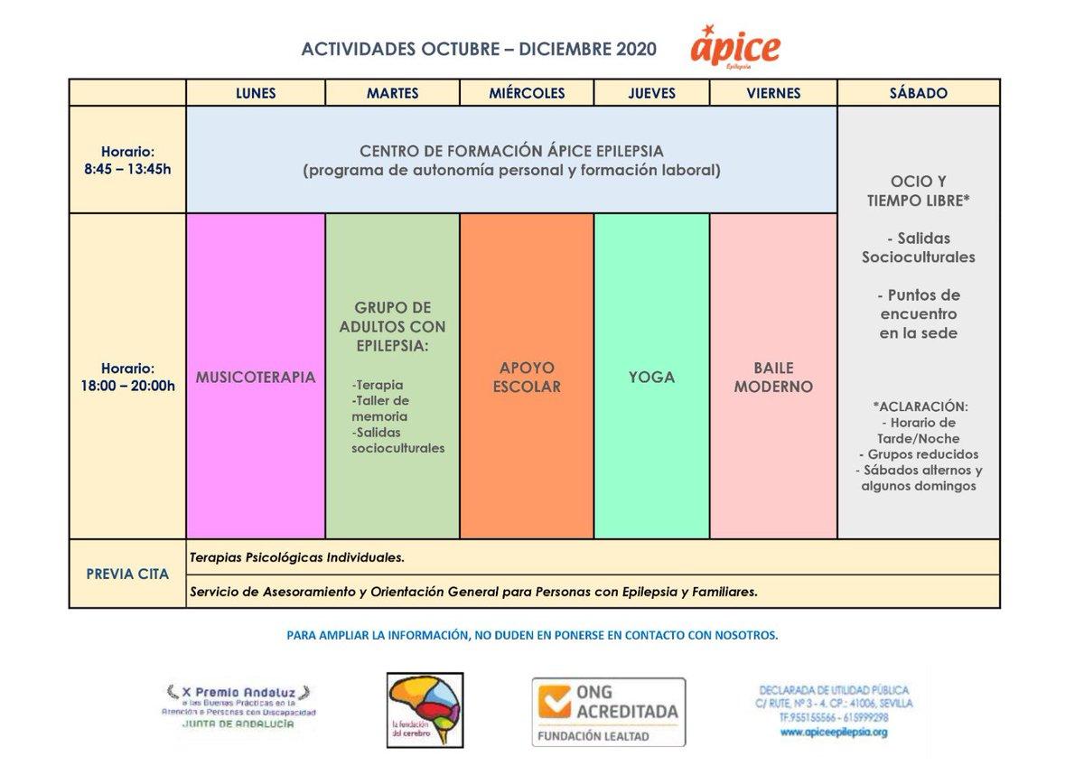 📍Ya están listos nuestros talleres y actividades al completo.  Os esperamos a partir de Octubre. Corre que aún quedan plazas libres!!. #ápice #centrodeformacion #actividades #talleres #epilepsia https://t.co/mDzzY1o7By