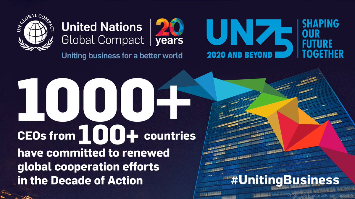 1000+ CEOs from 100+ countries have committed to renewed global cooperation efforts to steer the world onto a more equitable, inclusive and sustainable path. Learn what it means to be #UnitingBusiness for a better world: unglobalcompact.org/news/4589-09-2… @globalcompact