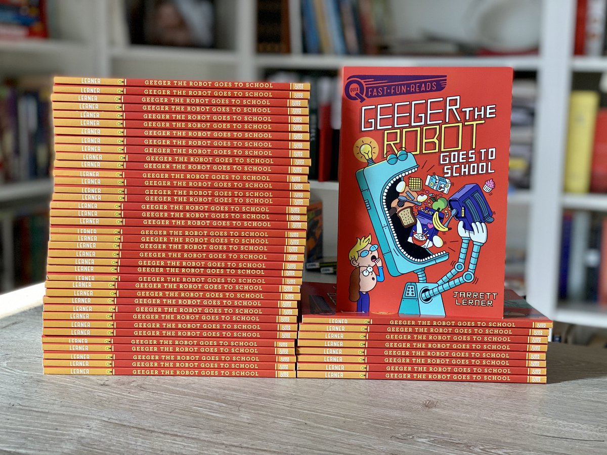 To celebrate tomorrow's release of Geeger the Robot Goes to School, the first book in my Geeger the Robot series, I'm giving away 2 sets of 25 copies—one here, one on Instagram. To enter here: RT this tweet and follow me! Bonus entry: share a favorite first-day-of-school story!