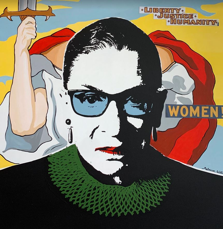Ruth Bader Ginsburg, in art and words  The US Supreme Court Justice was a favourite for artists around the world to portray. She was a pop culture icon, often illustrated with a crown on her head or wearing her dissent collar and matching earrings.   https://t.co/n0RSO3Q6Ox https://t.co/yEi1viXl1z