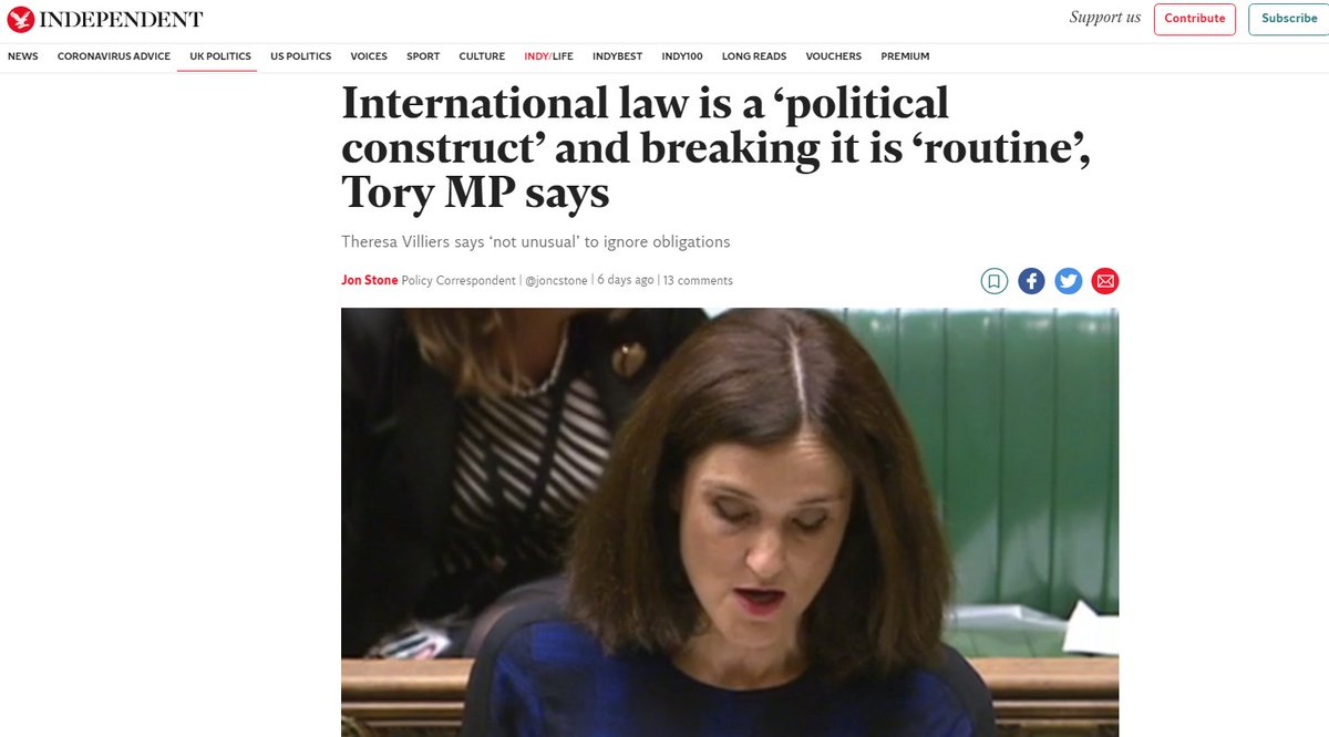 International Law is a 'political construct' and breaking it is 'routine' says Tory MP Theresa Villiers  Domestic Law is also a 'political construct'   Are the #Tories happy for the rest of us to break the law of the land as a matter of 'routine'  #Wato #LBC #BBCnews https://t.co/Z7zIE3qVlO