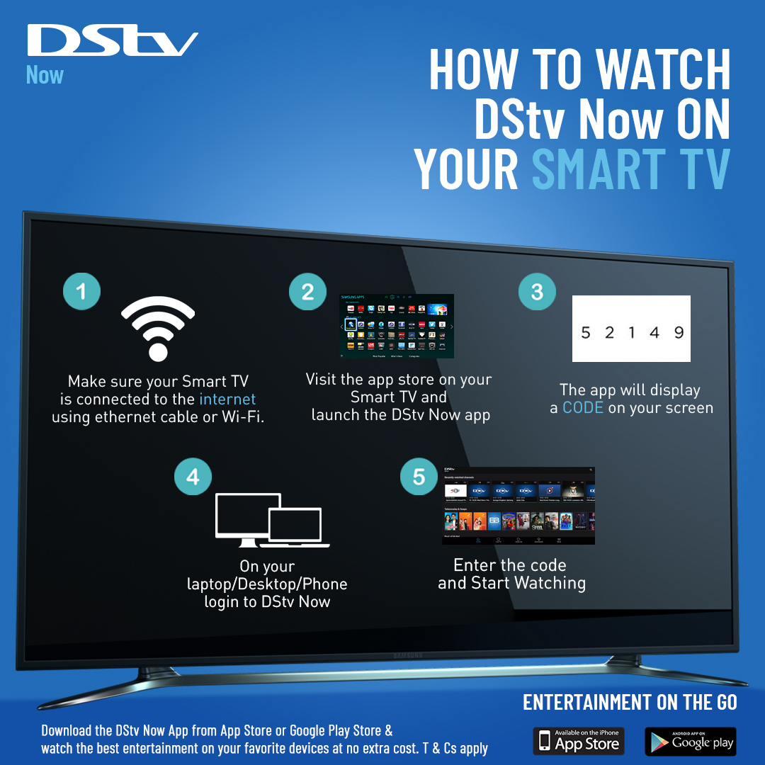 You can watch DStv on your Smart TV without connecting a dish. With a Samsung, LG, or Hisense Smart TV that connects to the internet, you can connect to DStv Now! Just follow these simple steps, or  visit any of our offices or PayBuddy agents for more details and support. https://t.co/B88Ejnu3Hb