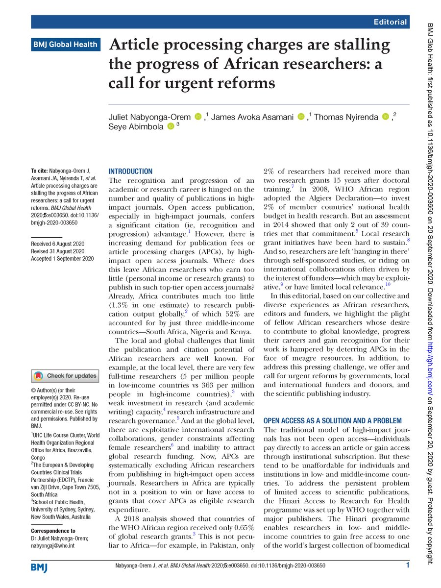 """Please read our new @GlobalHealthBMJ editorial, led by @julienabyonga   On how """"Article processing charges are stalling the progress of African researchers"""" https://t.co/GdpiYrsxjG  /we offer ideas for urgent reforms by governments, donors, and the scientific publishing industry/ https://t.co/n8JRR3B8N2"""