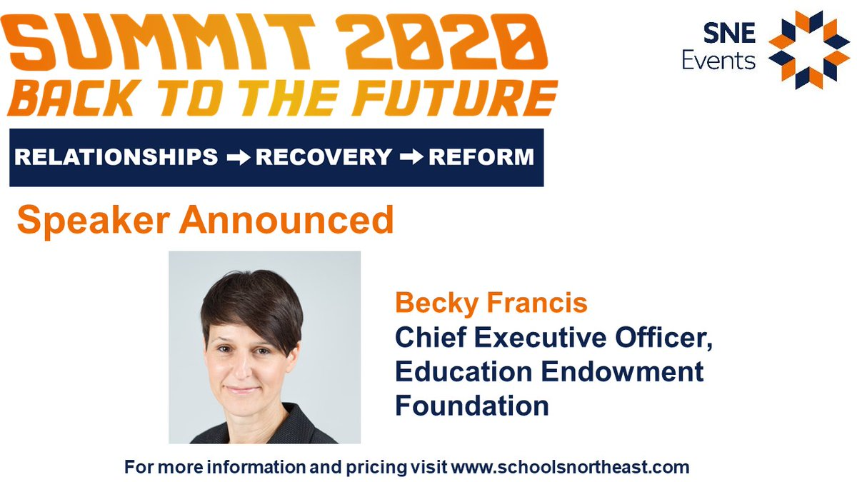 We are delighted to announce @BeckyFrancis7 CEO of @EducEndowFoundn as a speaker at the virtual #SNESummit2020!  Book your whole leadership team today: https://t.co/mUBCIcgDjX https://t.co/CAji8pVqc0