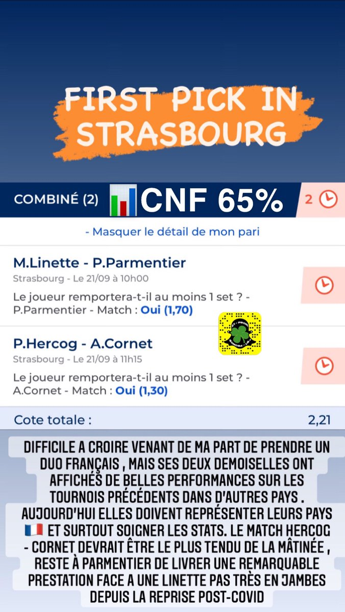 Premier PICK pour Strasbourg ont tente un Duo Français ! Mini Analyse juste en dessous ⬇️  #Strasbourgwta #wta #btpronos #TeamParieur #tennis https://t.co/lJSYFHniIT