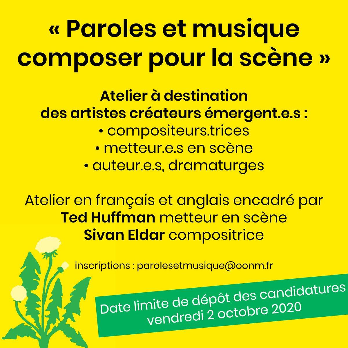 """📣 APPEL À CANDIDATURES ARTISTES ÉMERGENTS """"Paroles et Musique : composer pour la scène"""", un nouvel atelier @OONMLR pour les artistes émergents, encadré par nos artistes en résidence : @SivanEldar, compositrice, et @tdhffmn, auteur et metteur en scène. ℹ️ https://t.co/8MGExedtvu https://t.co/9WxWrHlZcz"""