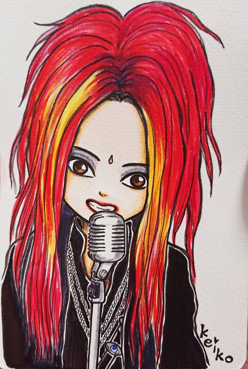 今日のhideちゃん💖50枚目✨ひーさんが可愛いお顔のhideちゃん画像をツイートしてたので拝借して(許可済み)描いてみました😌可愛いくなるはずやったのに…可愛く描けなかったーん😩😩😩 なので髪塗るの雑…😞#hide#HIDE#hideちゃんイラスト