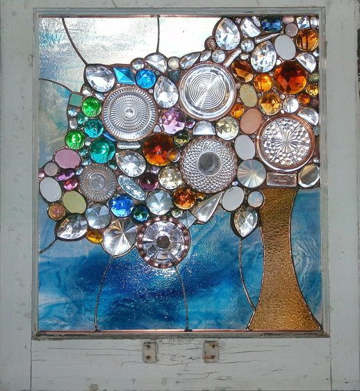 Re-purposed and recycled glass artwork, by stained glass artist Alison Fox #womensart