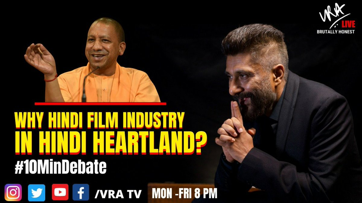 Why Hindi film industry in Hindi heartland?   #10MinDebate Watch LIVE tonight at 8 pm Click here to set reminder: youtu.be/8oYLdV-IFMY #VRATV #BrutallyHonest