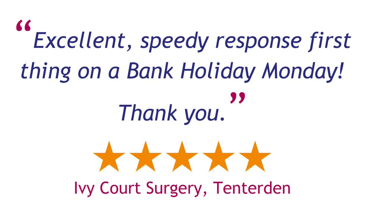 Thanks to Ivy Court Surgery for their lovely feedback regarding our service on the recent #BankHoliday! 👍  See what our other customers have to say here: https://t.co/HM5lntreUa  #MondayMood #CustomerFeedback #CustomerService #HappyCustomer https://t.co/gyTE7XKeFA