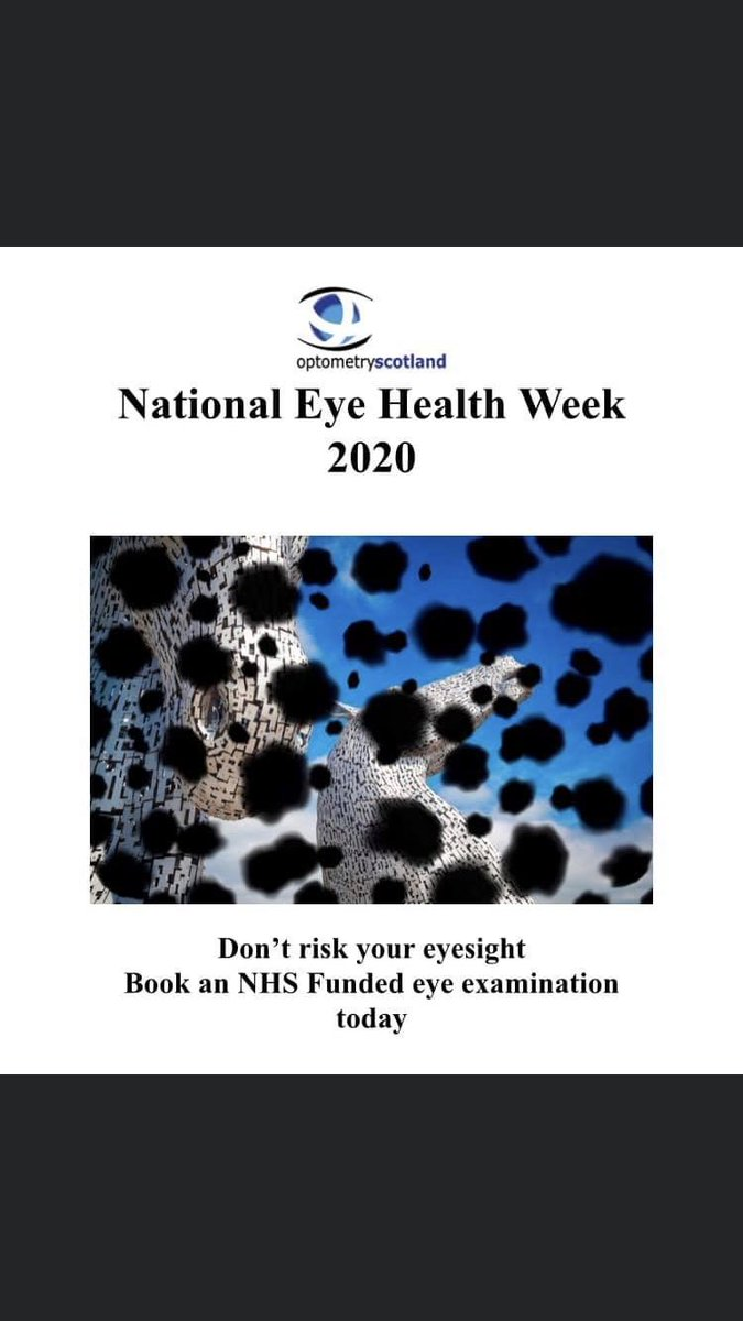 It's #NationalEyeHealthWeek! Don't forget to book your two yearly or annual #EyeExamination with your local optometrist 👍@scotgovhealth @RNIBScotland @VisibilityScot @glaucoma_uk @ScotWarBlinded https://t.co/yTNuqo4uBL