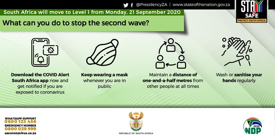 South Africa enters level 1 of the COVID-19 lockdown today. Keep taking extra health precautions to prevent a second wave of COVID-19 infections.   #COVID19SA #StaySafe  #Level1Lockdown https://t.co/G1AeMTpgvh