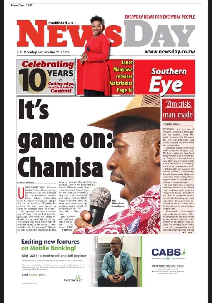 Its game on: @nelsonchamisa
