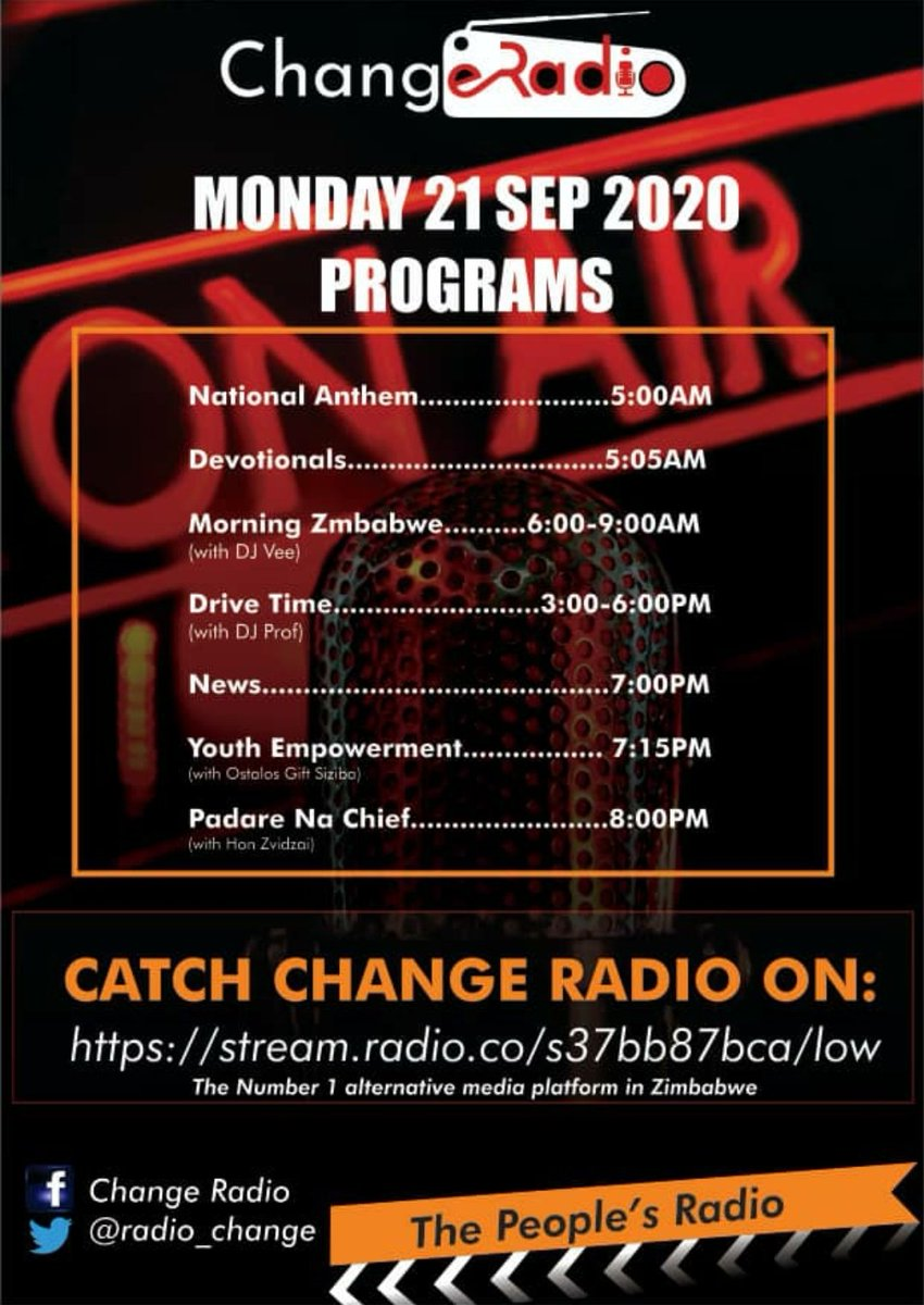 Change Radio programming: 21 September 2020