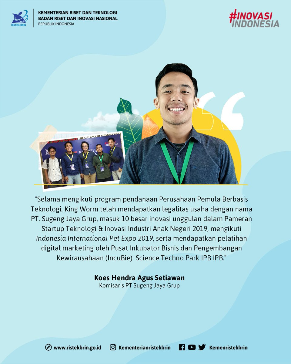 Selama mengikuti program PPBT, king worm telah mendapatkan legalitas usaha berbadan hukum dari Kementerian Hukum dan Hak Asasi Manusia dengan nama PT. Sugeng Jaya Grup.  #KingWorm #StartupInovasiIndonesia https://t.co/AaGmsgkXaG
