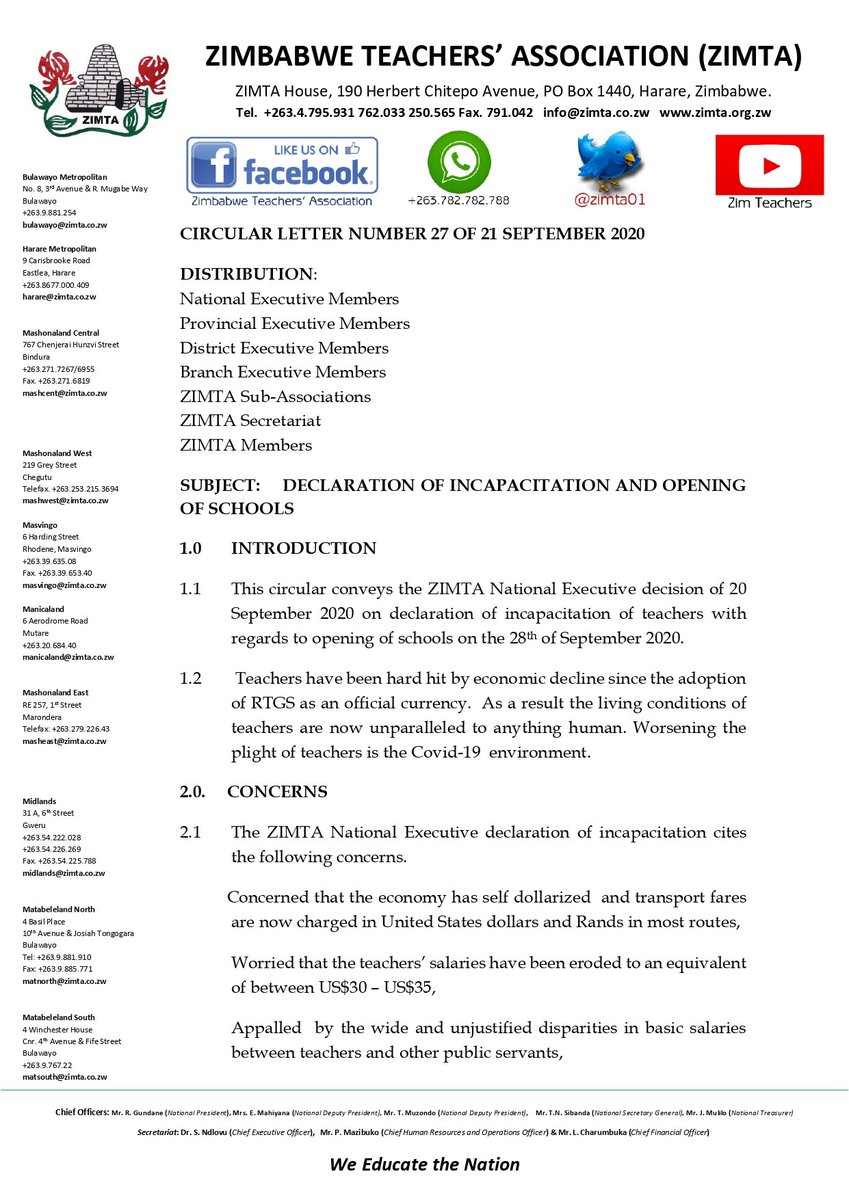 #STRIKE ZIMTA has declared incapacition for teachers ... all teachers will not be able to report for duty on September 28, 2020, for opening of schools, union says while demanding US$520 equivalent in monthly pay plus allowances
