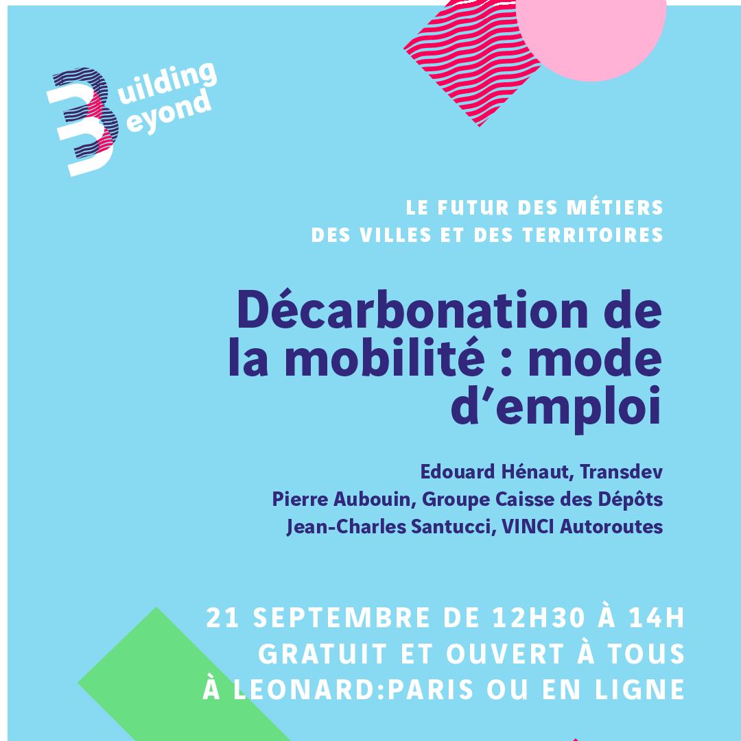 C'est le jour J pour le festival #BuildingBeyond ! Nous vous attendons à 12h30 pour notre 1er événement sur le thème de la décarbonation de la mobilité !  Inscriptions 👉https://t.co/2sQBhicHzT https://t.co/cy6y5Oyd7F