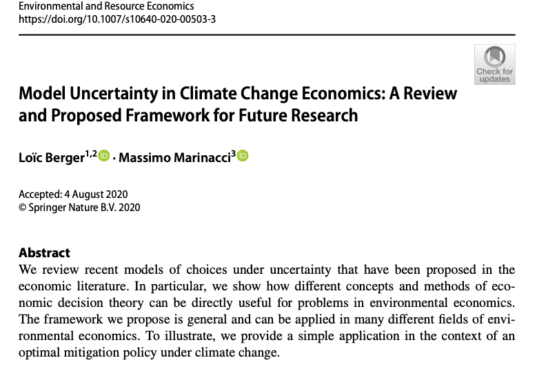 Happy to share that our new paper with M. Marinacci on  #uncertainty and  #climatechange has just been published  @SpringerNature https://rdcu.be/b7snR