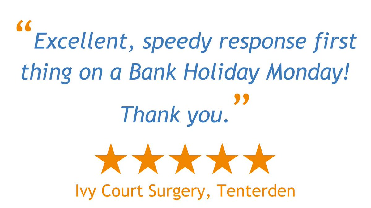 Thanks to Ivy Court Surgery for their lovely feedback regarding our service on the recent #BankHoliday! 👍  See what our other customers have to say here: https://t.co/9HCOUK4TBD  #MondayMood #CustomerFeedback #CustomerService #HappyCustomer https://t.co/4sKsNRNqIc