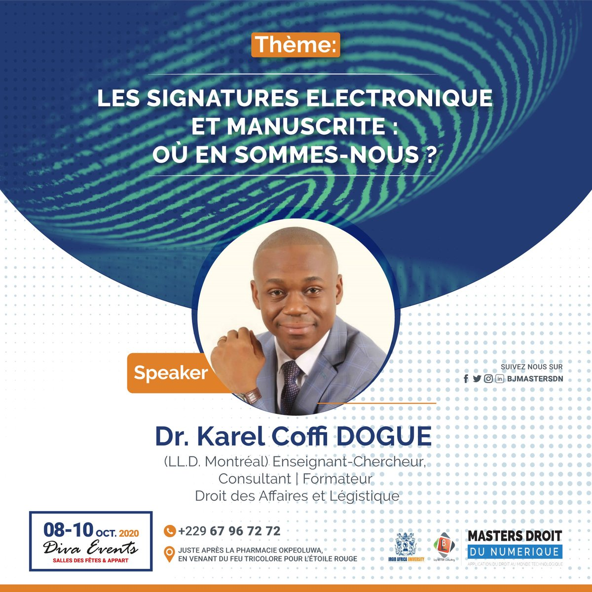 Docteur en droit, juriste pluridisciplinaire, Karel Osiris DOGUE est indéniablement une voix permise pour évoquer le cadre juridique de la signature électronique au Bénin. Obtenez votre pass 👉https://t.co/Aay8Dg9b8X #droitnumerique #BJMasterDN https://t.co/9B6V13IPkQ