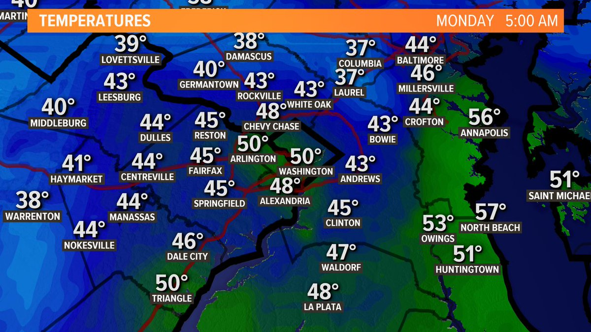 Chilly as you head out!  I'm spotting some 30s in our northern suburbs. @wusa9 #wusa9weather https://t.co/cUhFwxcxNs https://t.co/fAeOpf3yGa