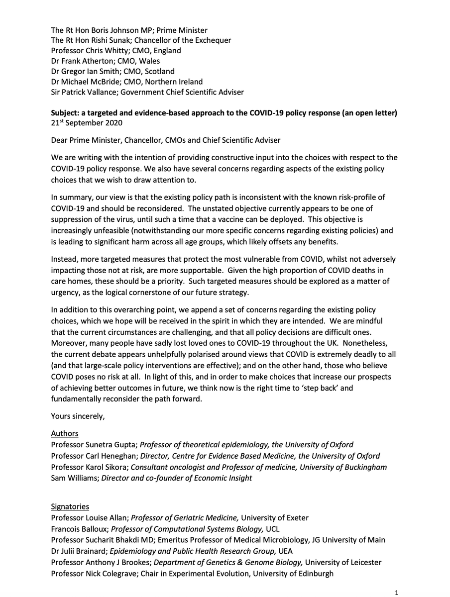 A group of us across medicine, academia and other areas have come together and sent this letter to the PM and his team.  Professors Heneghan, Gupta and many others - a wide range of voices as this crisis affects everything.  We desperately need a rethink to find a better balance. https://t.co/0jHqta3KYE