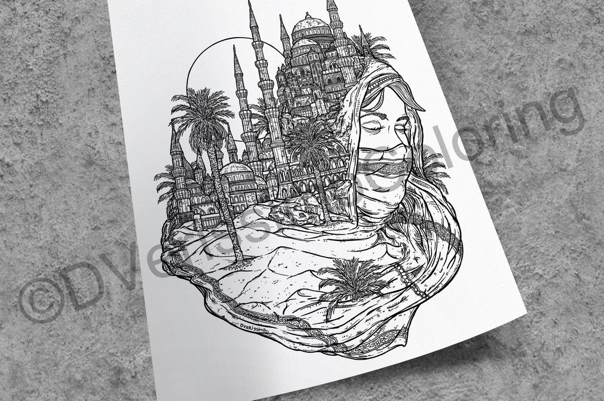 Wondrous Oasis - Jewels of the East Set 1 Coloring Pages PDF https://t.co/dGI7HjVMFD #dverissimo #illustration #drawing #digitalart #digital #surreal #fantasy #desert #woman #feminine #palmtrees #sand #dunes #eastern #east #city #cityscape #landscape https://t.co/ccVgYFIgmX