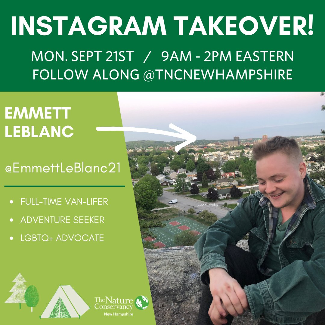 Follow us on Instagram today as Emmett LeBlanc takes over our account (@tncnewhampshire) and shares his incredible journey. And don't forget to sign up for the #LGBTQ in Nature virtual event on TOMORROW. Sign up: https://t.co/piK7jUt7YF @AppMtnClub https://t.co/opnQIaf8aJ