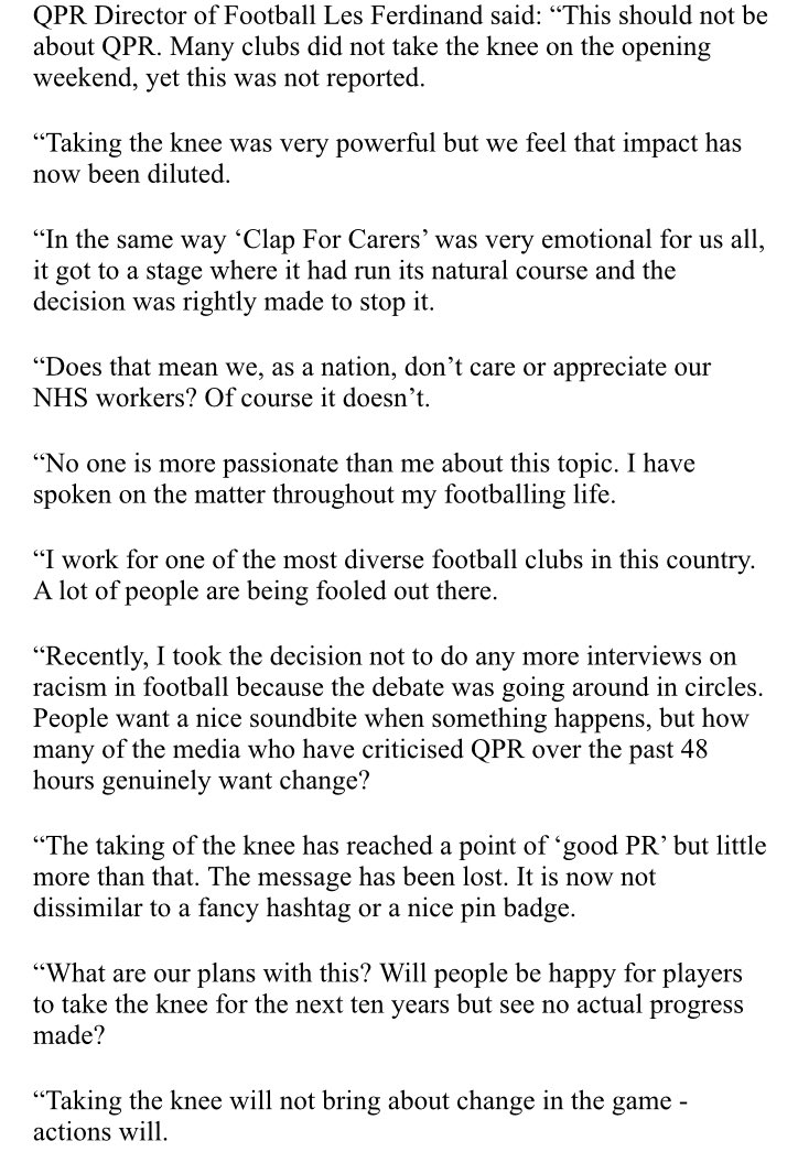 QPR statement ⬇️  Powerful words from Les Ferdinand.   Powerful words which are hard to argue with.   @QPR • #QPR https://t.co/16mlmLf415