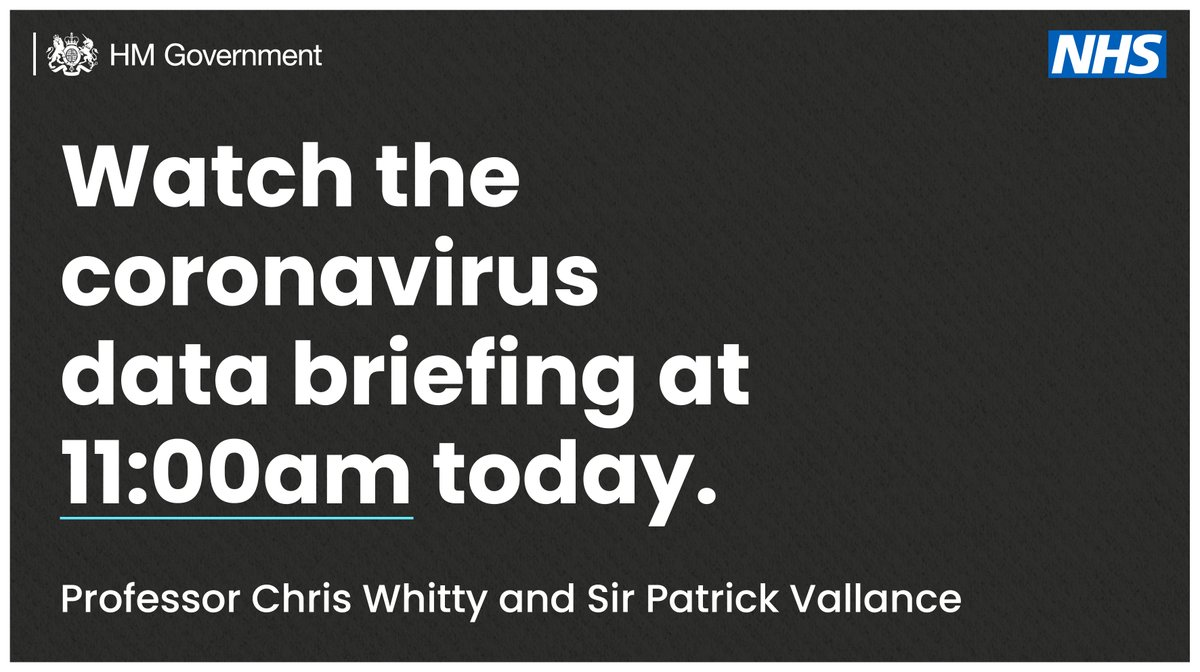 At 11:00am Prof Chris Whitty, @CMO_England and Sir Patrick Vallance, @UKScienceChief will give a coronavirus data briefing. You can watch it live on our social channels or on TV.