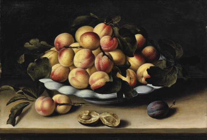 French Baroque era painter Louise Moillon, Still Life with a Bowl of Apricots, Peaches, Plums on an Entablature (mid 1600s) #womensart