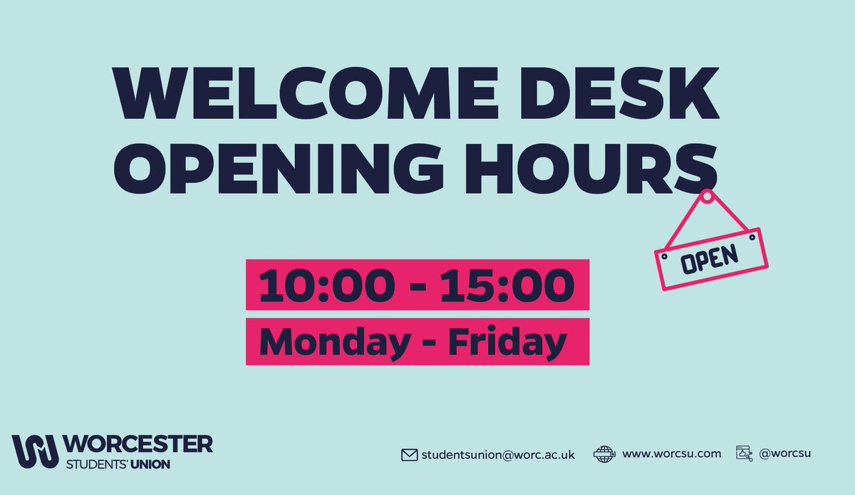 ⚠️ CHANGES TO OPENING HOURS ⚠️  The Welcome Desk will be operating with reduced hours this semester, opening 10:00 - 15:00, Monday to Friday.   Don't forget you can always email us at studentsunion@worc.ac.uk, or visit our website https://t.co/jZogJwtbH9. https://t.co/xVugbGcEtt