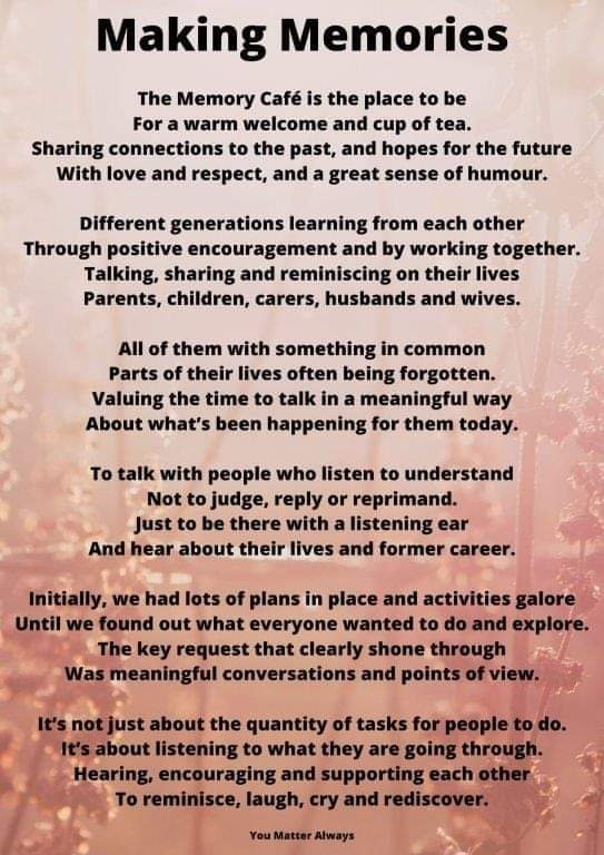 Today is #WorldAlzheimersDay  I had the privilege of co facilitating the wonderful Memory Cafe @ACommunities  and wrote this poem in respect of this meaningful and safe space for some truly magical people and families #YouMatterAlways #dementiaawareness #IntergenerationalLearning https://t.co/rTT9sf39ZW