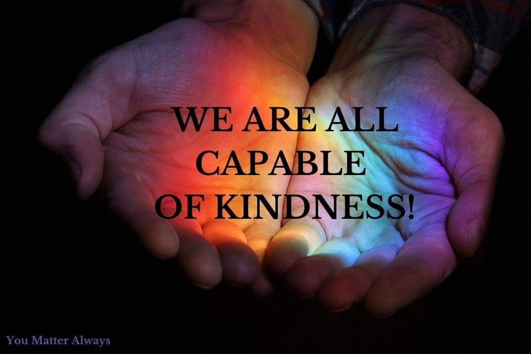 Kindness is a lifestyle not a one time act. Today, and everyday, we are all capable of kindness 💜🌈💜 #YouMatterAlways #bekind #ifyoucanbeanythingbekind #kindness #kindnessisalwaysinseason #betheonewhocares https://t.co/Ur4yJQMWM5