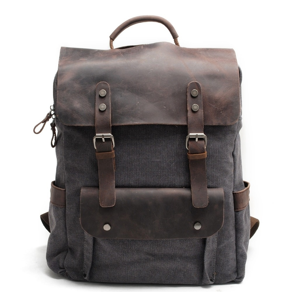 Vintage Leather Canvas Backpack #cute #pretty #girl #shoes #model #deals https://t.co/VI47QQ8up8