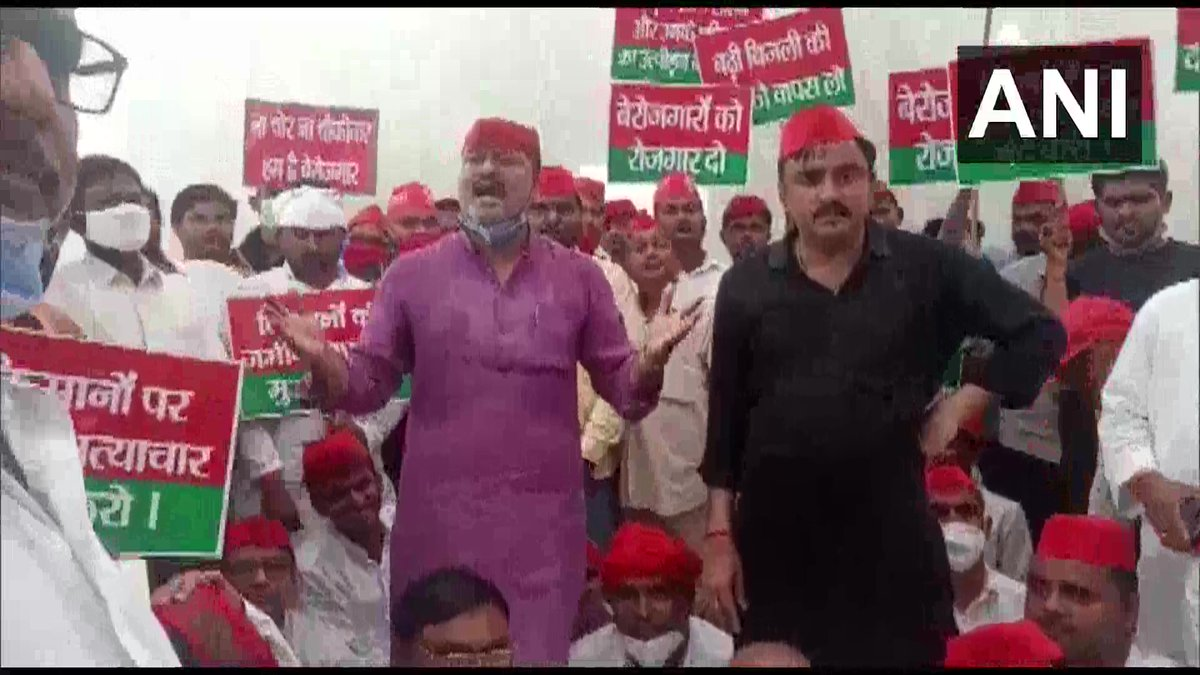 Workers of Samajwadi Party stage a demonstration, demanding jobs from the state government, in Ayodhya.