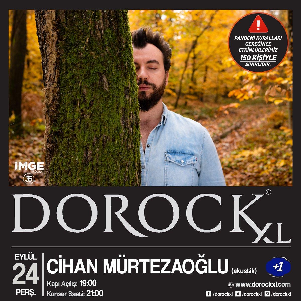 Cihan Mürtezaoğlu, akustik performansıyla 24 Eylül Perşembe saat 21:00'de Dorock XL'ta! Sınırlı sayıda biletler Biletix ve Dorock XL gişelerinde.   ⚠️ Pandemi kuralları gereğince etkinliklerimiz 150 kişiyle sınırlıdır.    #DorockXL #DorockXLKadıköy #CihanMürtezaoğlu #artıbir https://t.co/6JlIZbUvXW