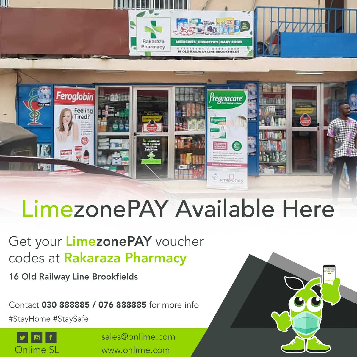 Get your LimezonePAY Voucher codes from Rakaraza Pharmacy, 16 Old Railway Line Brookfields. contact +23230888885/+23276888885 for more info. #StayConnected #StaySafe #LimezonePAY https://t.co/xr9gPFlfPY
