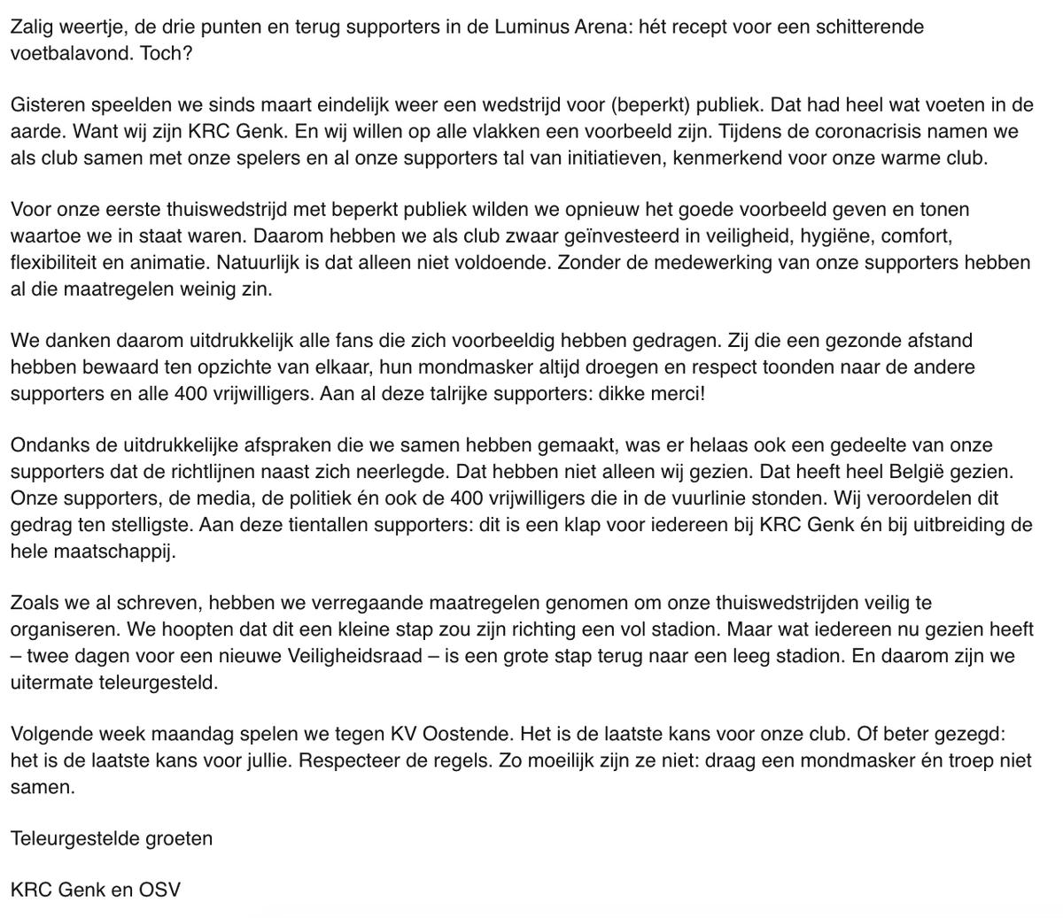 Open brief aan onze supporters: Gewonnen, maar teleurgesteld. https://t.co/USSqrC2zkE