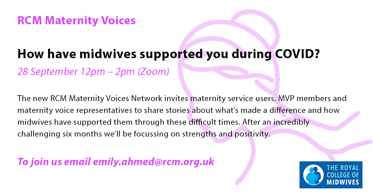 Have you used maternity services in the UK in the last 6 months? The new @MidwivesRCM Maternity Voices Network invite you to tell us what's made a difference to you & share how midwives have supported you during this difficult time. We will be focussing on strengths & positivity https://t.co/1uSOLynzOc