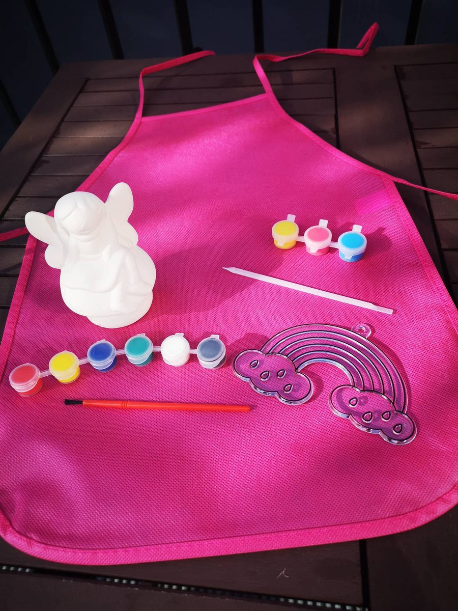 Excited to share the latest addition to my #etsy shop: Paint Your Own Ceramic Fairy Moneybox and Rainbow Suncatcher with Apron, kids craft bundle, toys #weddingpacks #paint #kids #fairy #suncatcher #rainbow #activitypacks #BelfastHour  https://t.co/HT7Hav5y1F https://t.co/5glRYaGaER