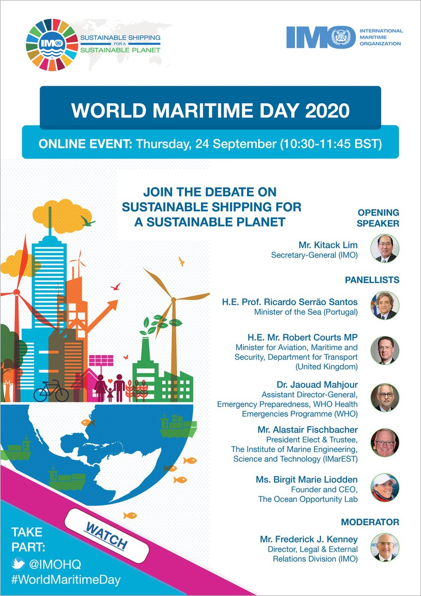 This Thursday 24 September will be #WorldMaritimeDay Watch the online celebration here: bit.ly/33OTO4H with lively discussions surrounding #SustainableShipping with our impressive guests.